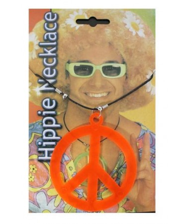 Hippie Peace Sign Necklace Orange BUY