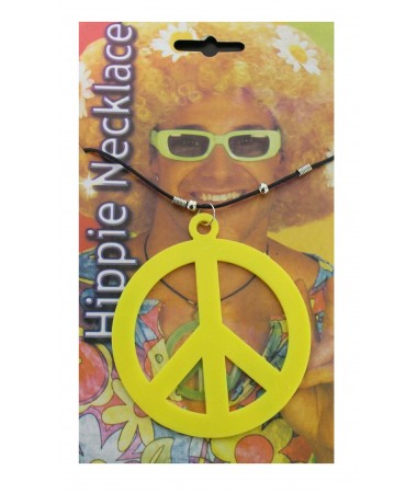 Hippie Peace Sign Necklace Yellow BUY