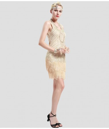 Beige and Gold Gatsby Dress ADULT HIRE