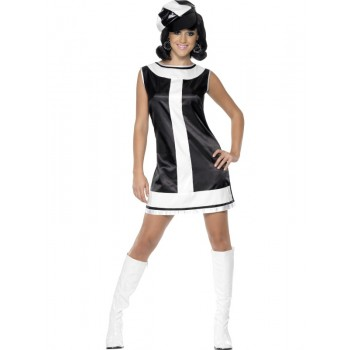 Black and White Mod Dress ADULT HIRE