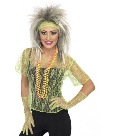 Green Lace 80s Outfit ADULT HIRE