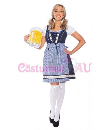 Blue Check German Beer Maid ADULT HIRE