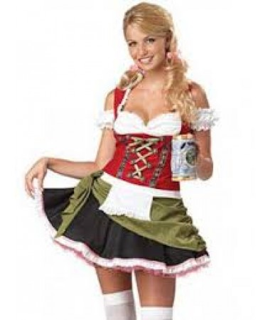Red and Green German Dress ADULT HIRE