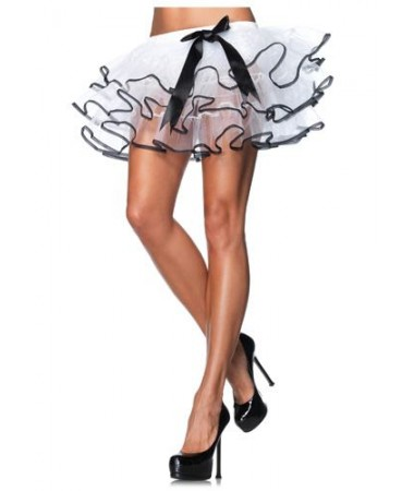 White with black ribbon trim Petticoat ADULT HIRE