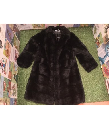 Black Knee Length Fur Coat ADULT HIRE