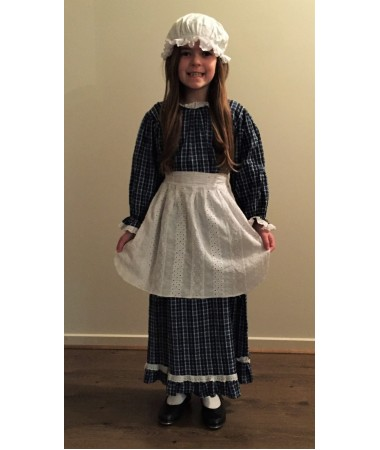 Blue Check Colonial Girl Large KIDS HIRE